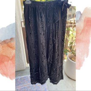 Anthropologie Embroidered Black Skirt